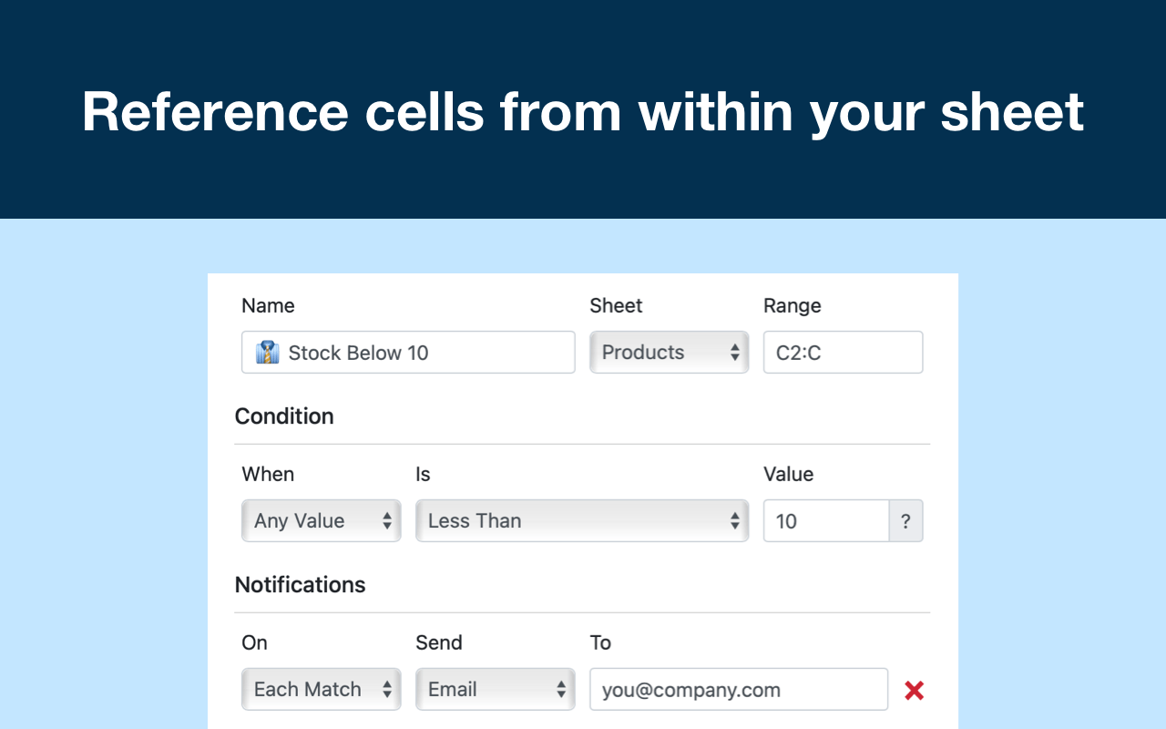 Reference cells from within your sheet